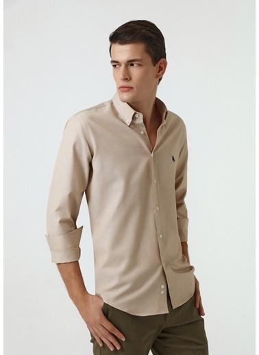 D'S Damat Slim Fit Oxford Gömlek Bej